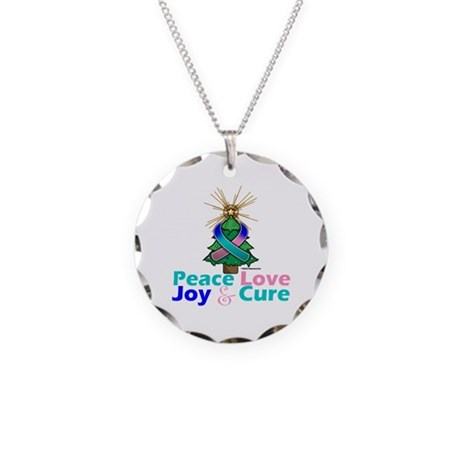 Thyroid Cancer Xmas Tree Ribbon Necklace Circle Ch