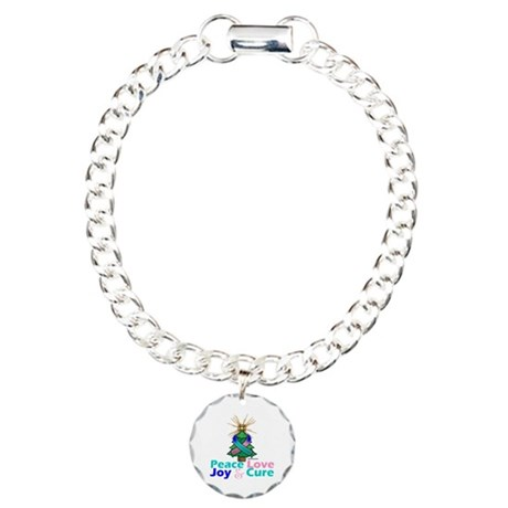 Thyroid Cancer Xmas Tree Ribbon Charm Bracelet, On