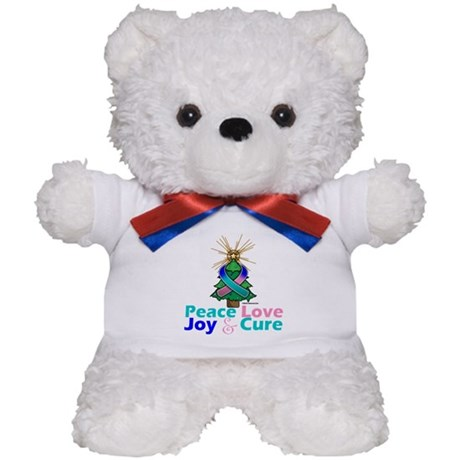 Thyroid Cancer Xmas Tree Ribbon Teddy Bear
