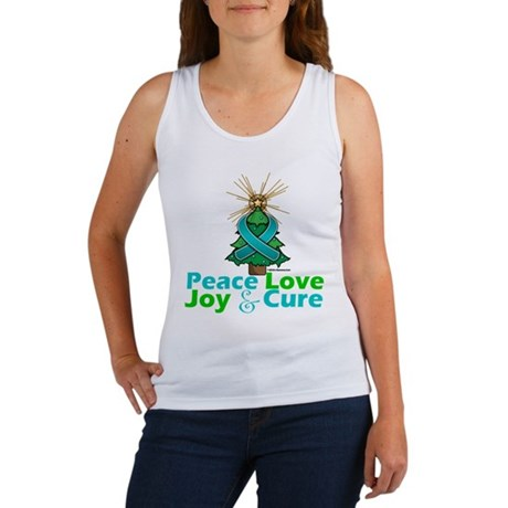 Ovarian Cancer Xmas Tree Ribbon Women's Tank Top