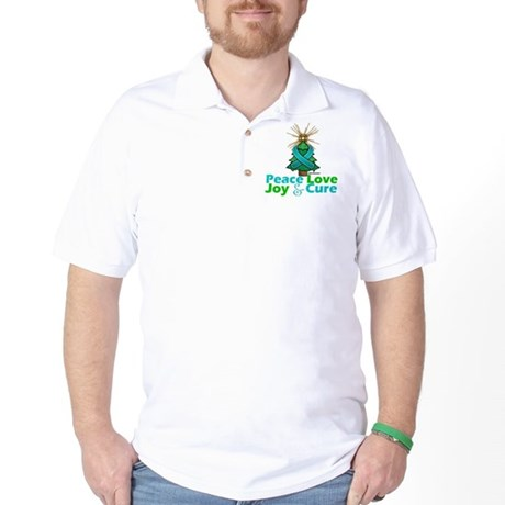 Ovarian Cancer Xmas Tree Ribbon Golf Shirt