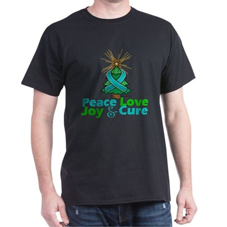 Ovarian Cancer Xmas Tree Ribbon Dark T-Shirt