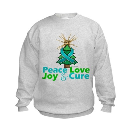 Ovarian Cancer Xmas Tree Ribbon Kids Sweatshirt