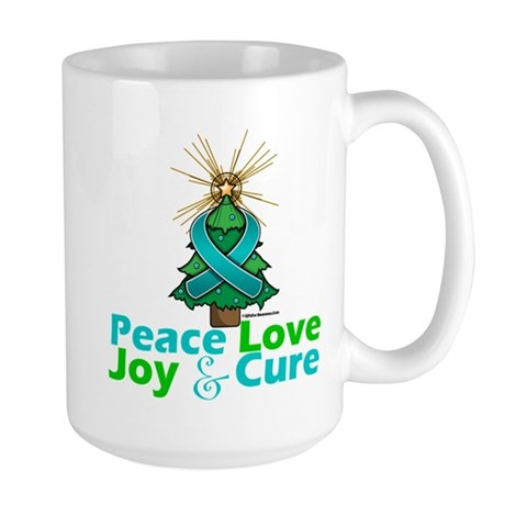 Ovarian Cancer Xmas Tree Ribbon Large Mug