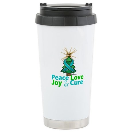 Ovarian Cancer Xmas Tree Ribbon Ceramic Travel Mug