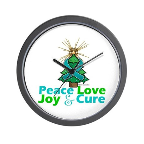 Ovarian Cancer Xmas Tree Ribbon Wall Clock
