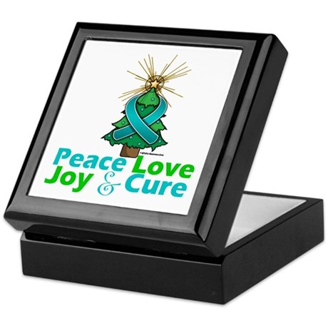 Ovarian Cancer Xmas Tree Ribbon Keepsake Box