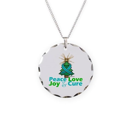 Ovarian Cancer Xmas Tree Ribbon Necklace Circle Ch