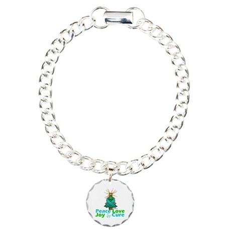 Ovarian Cancer Xmas Tree Ribbon Charm Bracelet, On
