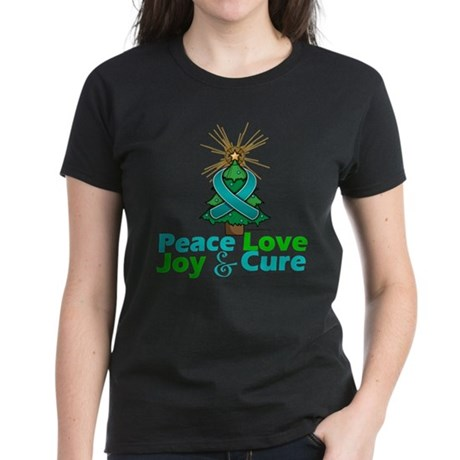 Ovarian Cancer Xmas Tree Ribb Women's Dark T-Shirt