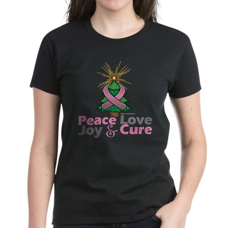 Breast Cancer Xmas Tree Ribbo Women's Dark T-Shirt