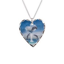 The Heart Of The Dolphins Necklace Heart Charm