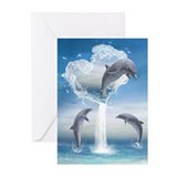 The Heart Of The Dolphins Greeting Cards (Pk of 20