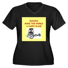 banjos Women's Plus Size V-Neck Dark T-Shirt