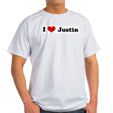 I Love Justin Ash Grey T-Shirt