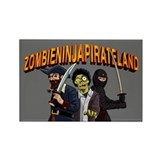 Zombie Ninja Pirate Land Rectangle Magnet