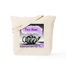 Zebra Print Teapot Purple Personalized Tote Bag