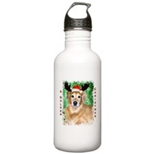 Golden Christmas with Antlers Water Bottle