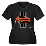 New Camaro Red Women's Plus Size V-Neck Dark T-Shi
