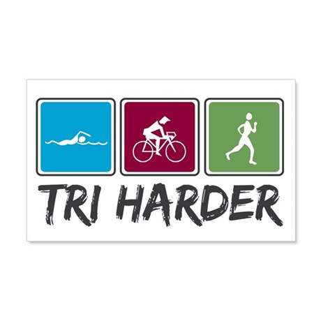 Tri Harder (Triathlon) 22x14 Wall Peel