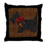 Harvest Moon's Christmas Scottie Throw Pillow