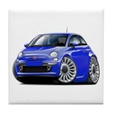 Fiat 500 Blue Car Tile Coaster