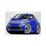 Fiat 500 Blue Car Rectangle Magnet