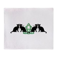Cats Earth Triquetra Wiccan Throw Blanket