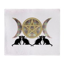Cats Pentagram Triple Goddess Throw Blanket