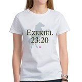 """Ezekiel 23:20"" women's white tee"