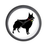 Christmas or Holiday Collie Silhouette Wall Clock