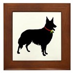Christmas or Holiday Collie Silhouette Framed Tile