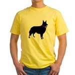Christmas or Holiday Collie Silhouette Yellow T-Sh