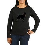 Christmas or Holiday Collie Silhouette Women's Lon
