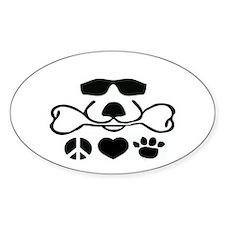 Peace Love Dog Cool Dog Duke Decal