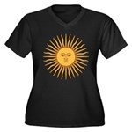 Sol de Mayo Women's Plus Size V-Neck Dark T-Shirt