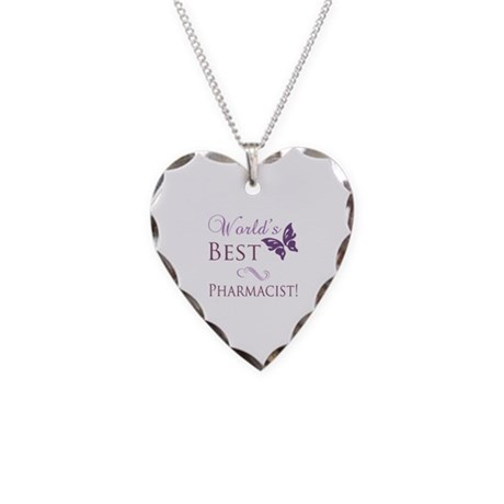World's Best Pharmacist Necklace Heart Charm