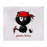 pirate kitty Throw Blanket