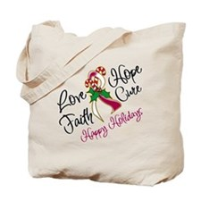 Holiday Hope Throat Cancer Tote Bag