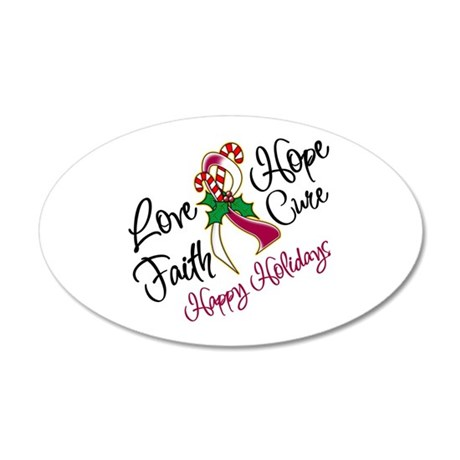 Holiday Hope Throat Cancer 22x14 Oval Wall Peel