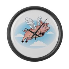 When Pigs Fly Happy Piggy Large Wall Clock