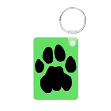 Cougar Mountain Lion Puma Aluminum Green Keychain