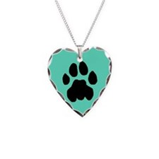 Cougar Mountain Lion Puma Necklace Heart Blue