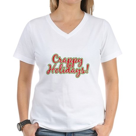 Crappy Holidays Womens V-Neck T-Shirt