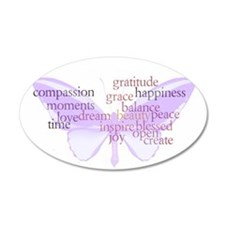 Peace and Gratitude Butterfly 22x14 Oval Wall Peel