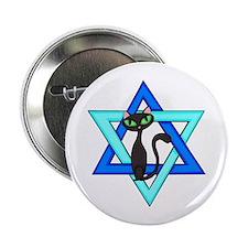 """Jewish Cat Stars 2.25"""" Button"""