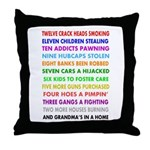 Mean & Qirky Cards Throw Pillow