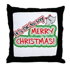Say Merry Christmas Throw Pillow