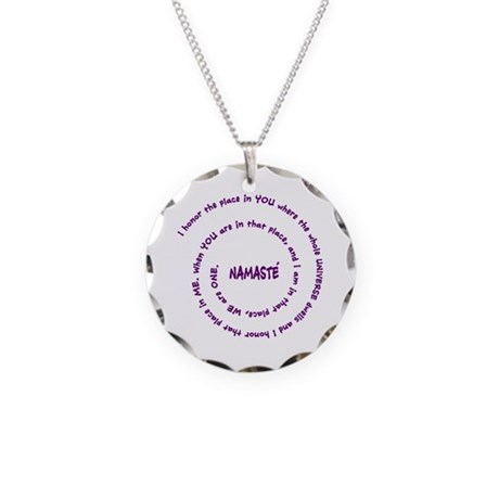 Namaste Meaning in Sacred Pu Necklace Circle Charm