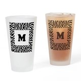 Zebra Print. Custom Letter. Drinking Glass